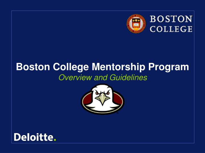 Boston college mentorship program overview and guidelines