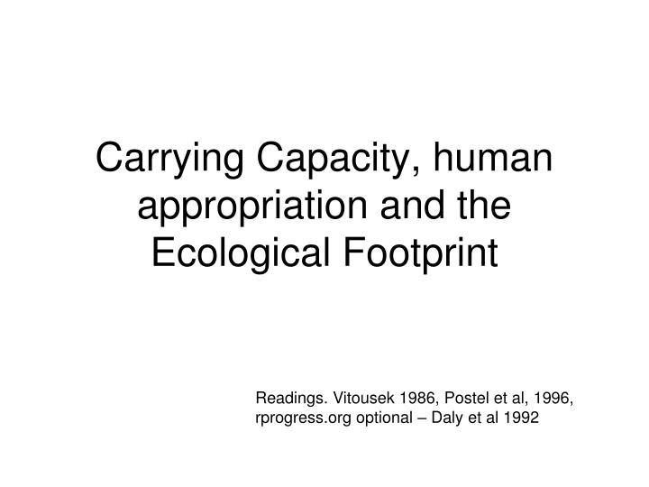 carrying capacity human appropriation and the ecological footprint