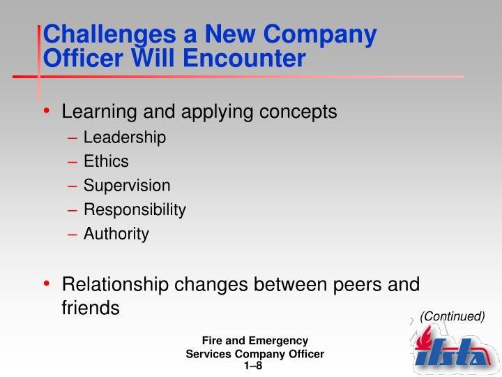 Challenges a New Company Officer Will Encounter