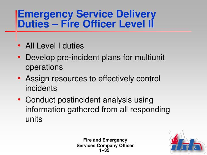 Emergency Service Delivery Duties – Fire Officer Level II