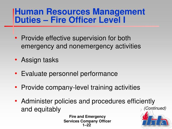 Human Resources Management Duties – Fire Officer Level I