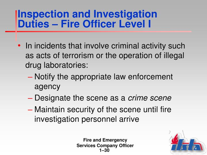 Inspection and Investigation Duties – Fire Officer Level I