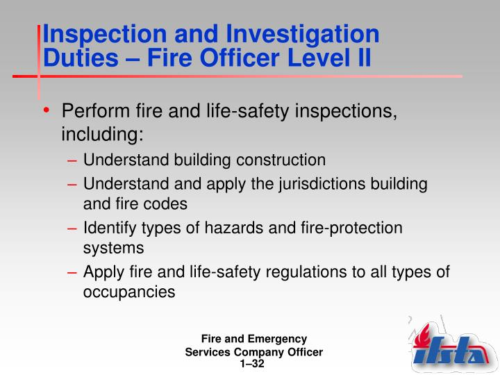 Inspection and Investigation Duties – Fire Officer Level II