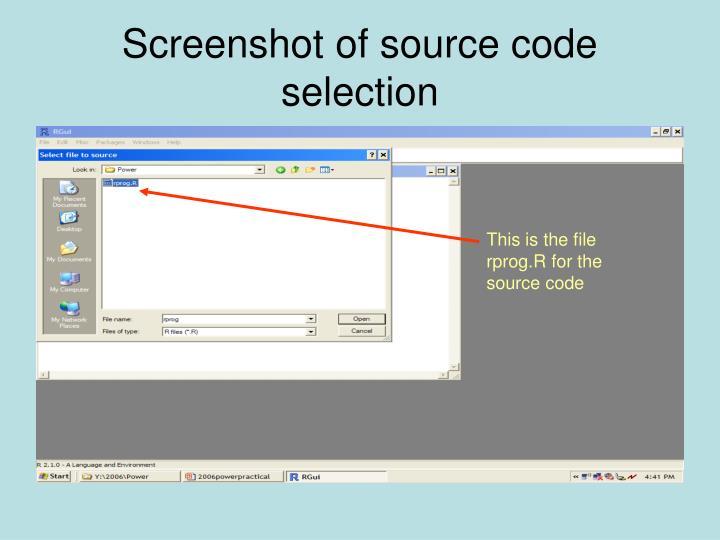 Screenshot of source code selection