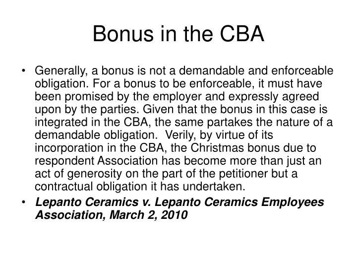 Bonus in the CBA
