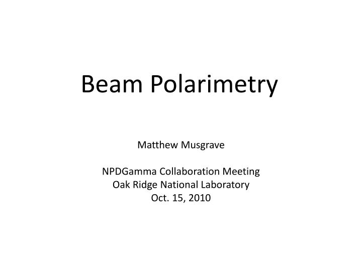 Beam Polarimetry