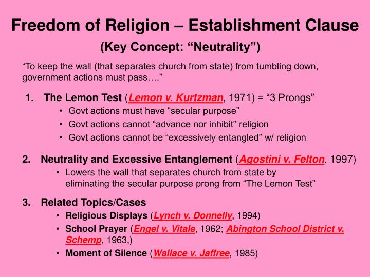 religion and secular clause
