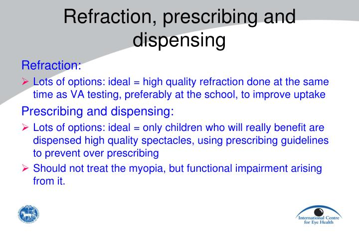 Refraction, prescribing and dispensing