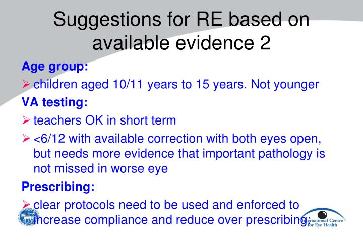 Suggestions for RE based on available evidence 2