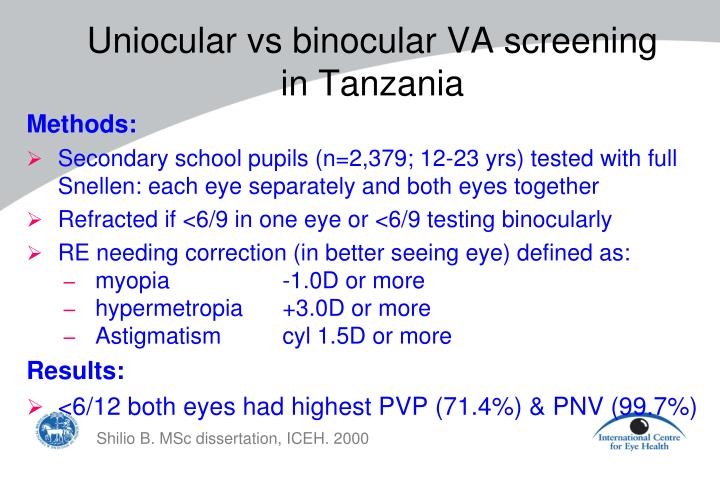 Uniocular vs binocular VA screening
