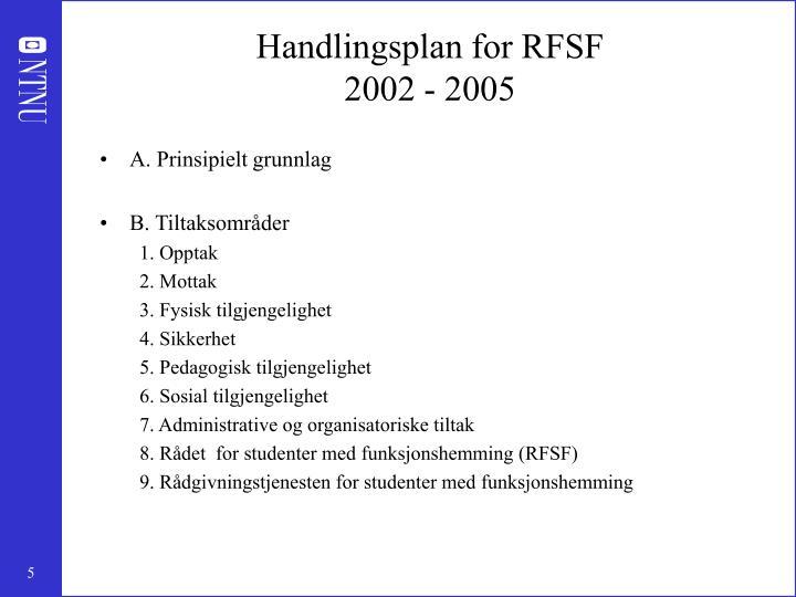 Handlingsplan for RFSF
