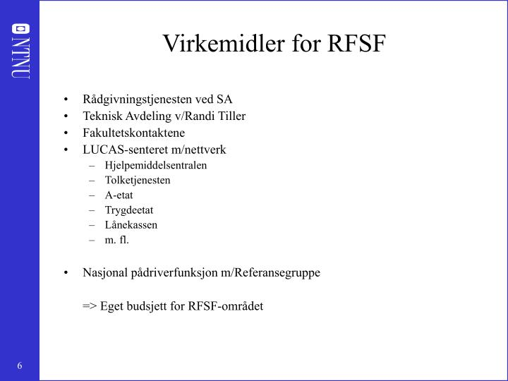 Virkemidler for RFSF