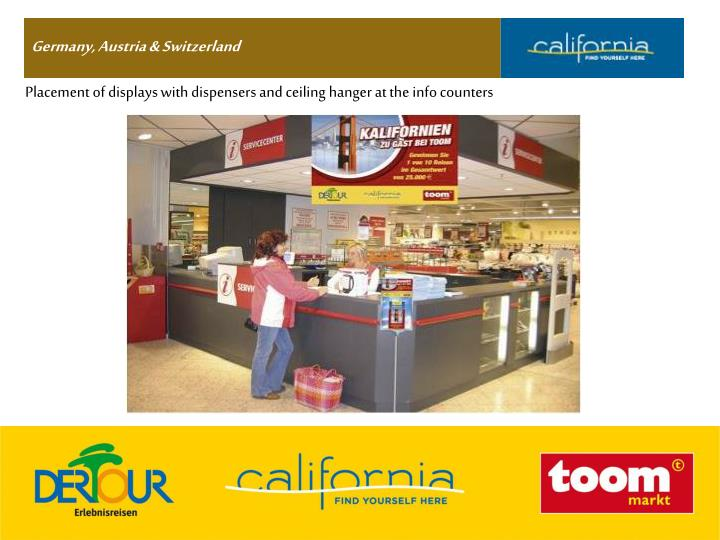 Placement of displays with dispensers and ceiling hanger at the