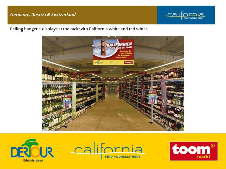 Ceiling hanger + displays at the rack with California white and red wines