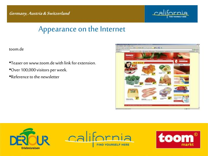 Appearance on the Internet