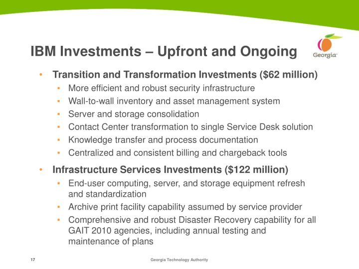IBM Investments – Upfront and Ongoing