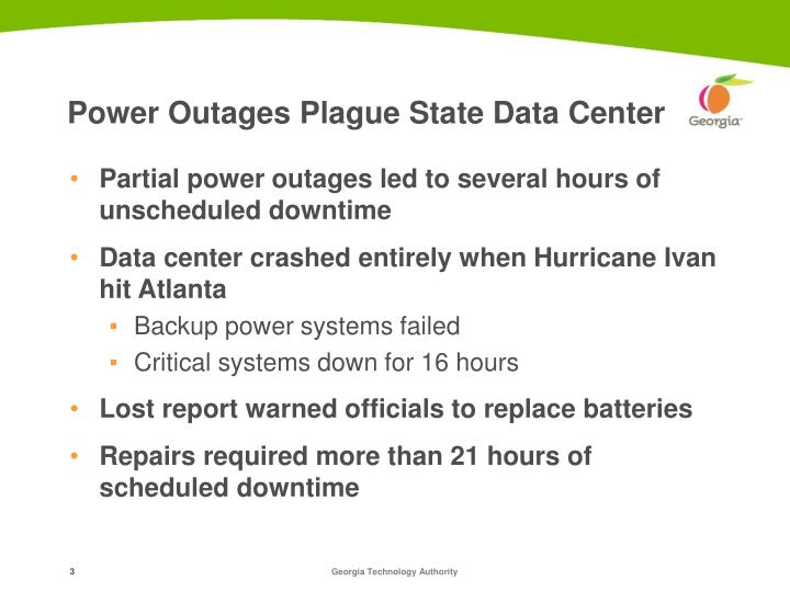 Power outages plague state data center