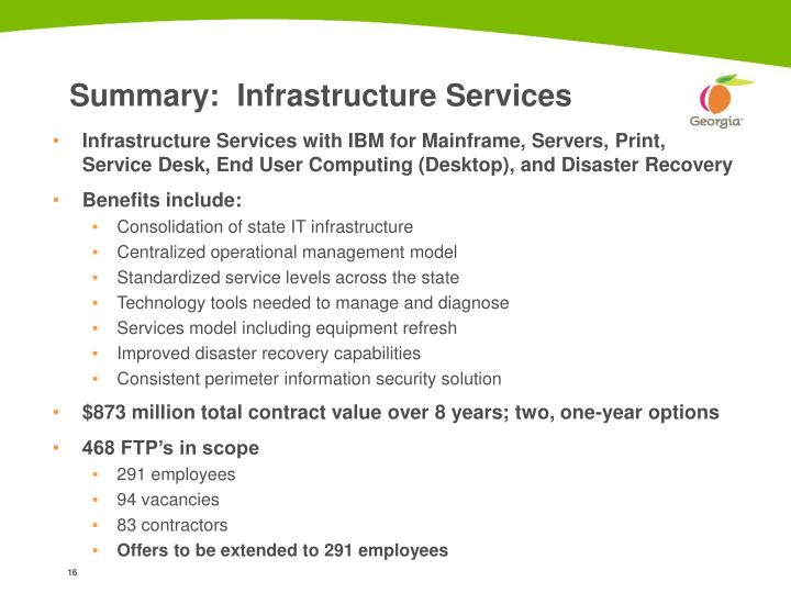 Summary:  Infrastructure Services