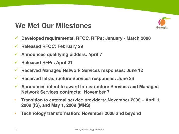 We Met Our Milestones