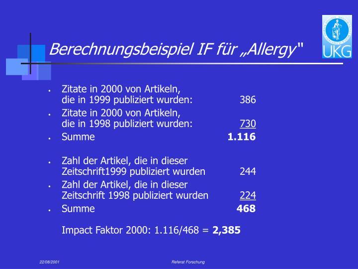 """Berechnungsbeispiel IF für """"Allergy"""""""