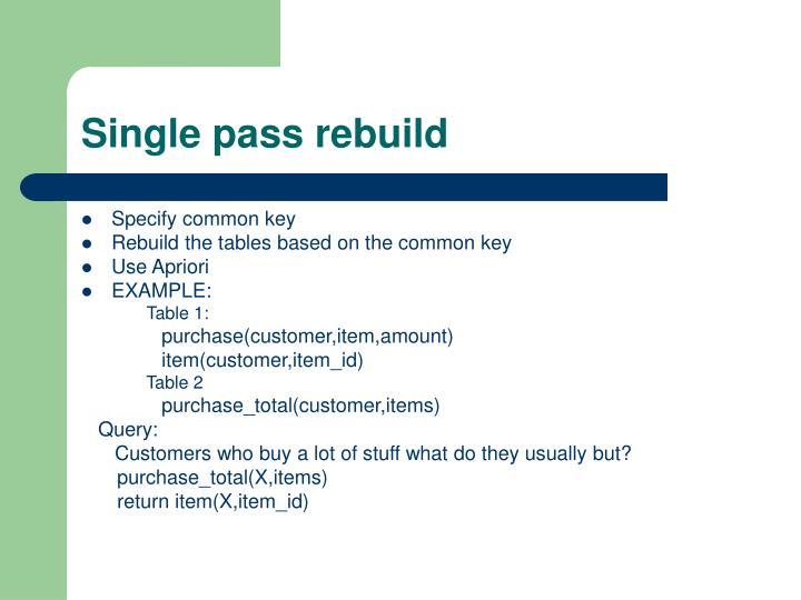 Single pass rebuild