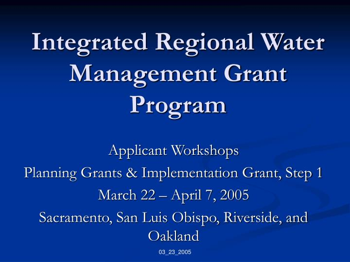 integrated regional water management grant program n.