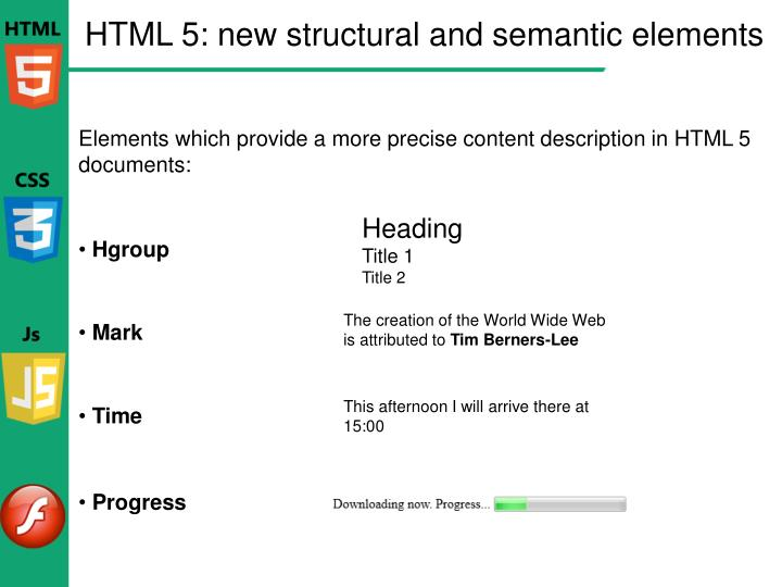 HTML 5: new structural and semantic elements