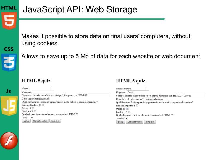 JavaScript API: Web Storage