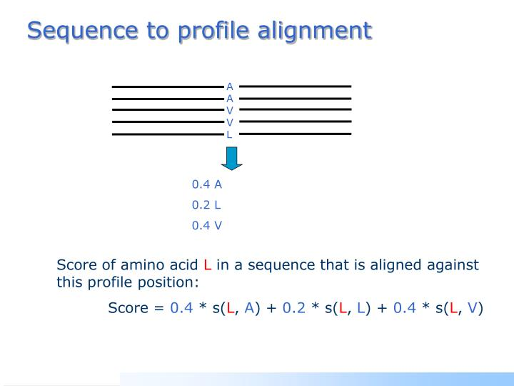 Sequence to profile alignment