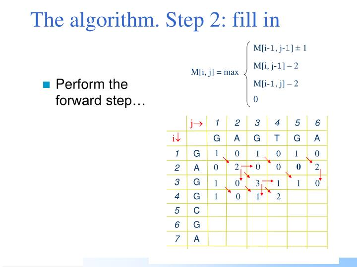 The algorithm. Step
