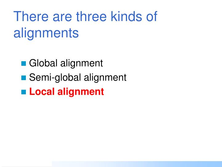There are three kinds of alignments