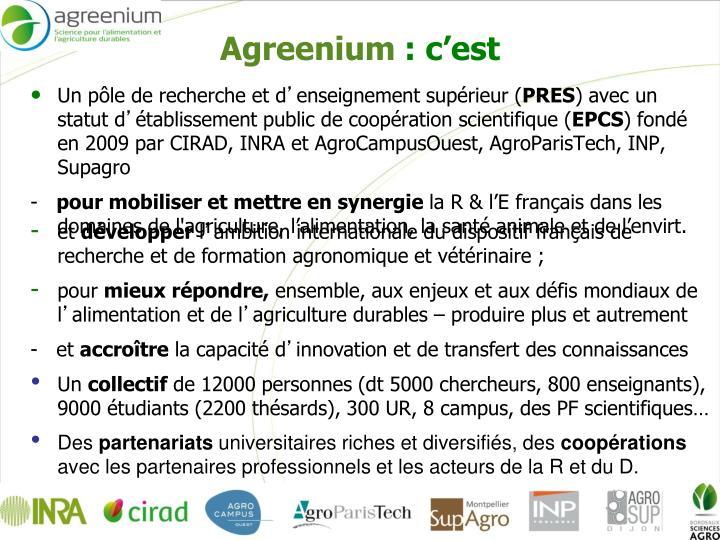Agreenium c est