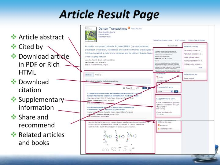 Article Result Page