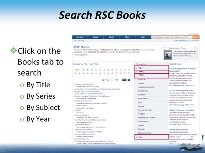 Search RSC Books