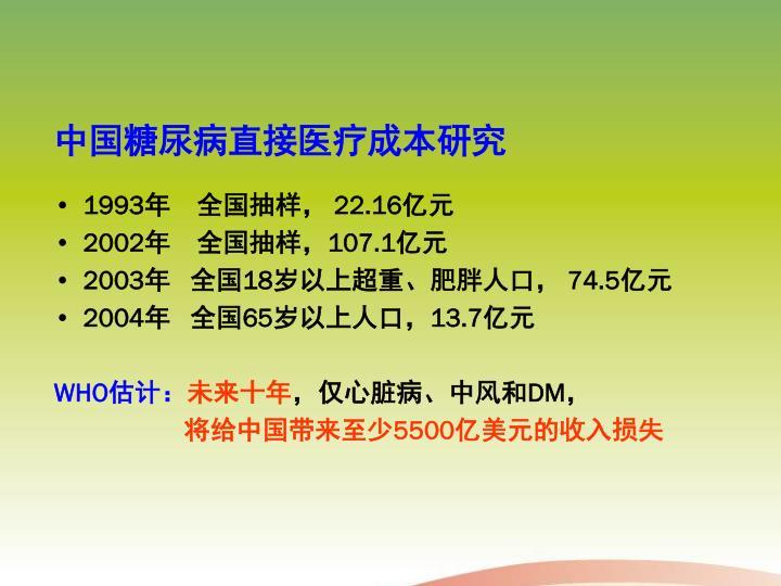 中国糖尿病直接医疗成本研究