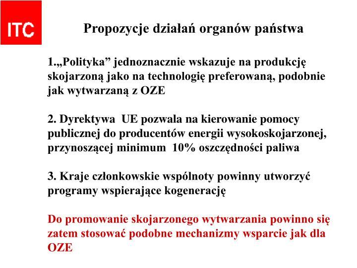 Propozycje działań organów państwa