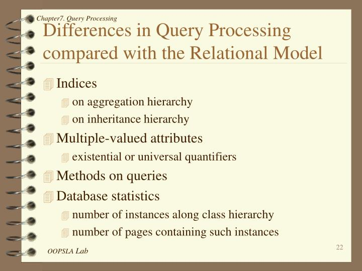 Differences in Query Processing compared with the Relational Model