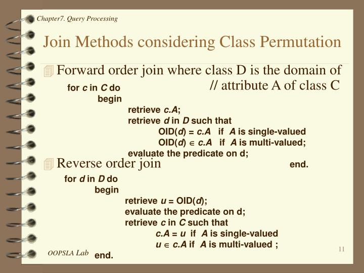 Join Methods considering Class Permutation