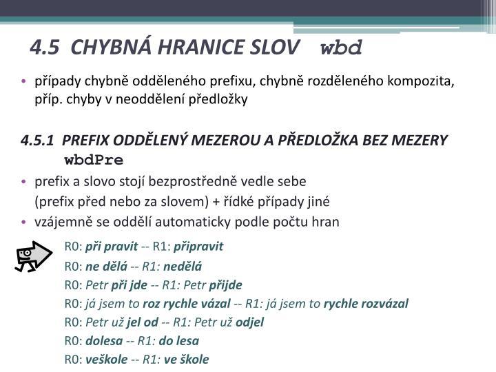 4.5 CHYBNÁ HRANICE SLOV