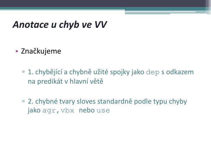 Anotace u chyb ve VV