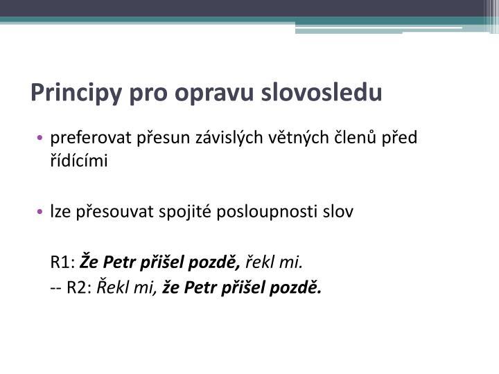 Principy pro opravu slovosledu