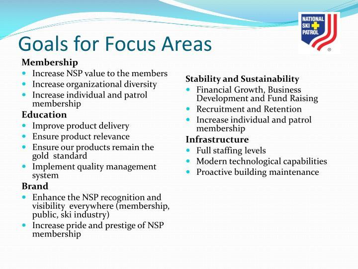 Goals for Focus Areas