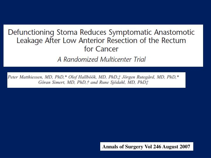 Annals of Surgery Vol 246 August 2007