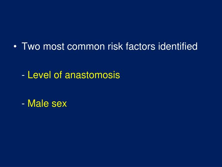 Two most common risk factors identified