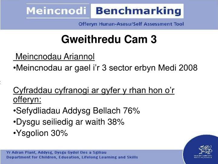 Gweithredu Cam 3