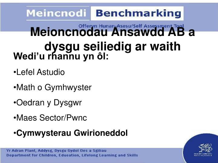 Meioncnodau Ansawdd AB a dysgu seiliedig ar waith