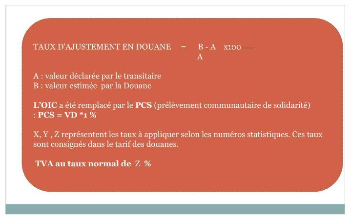 TAUX D'AJUSTEMENT EN DOUANE     =      B - A    x100