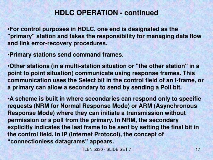 HDLC OPERATION - continued