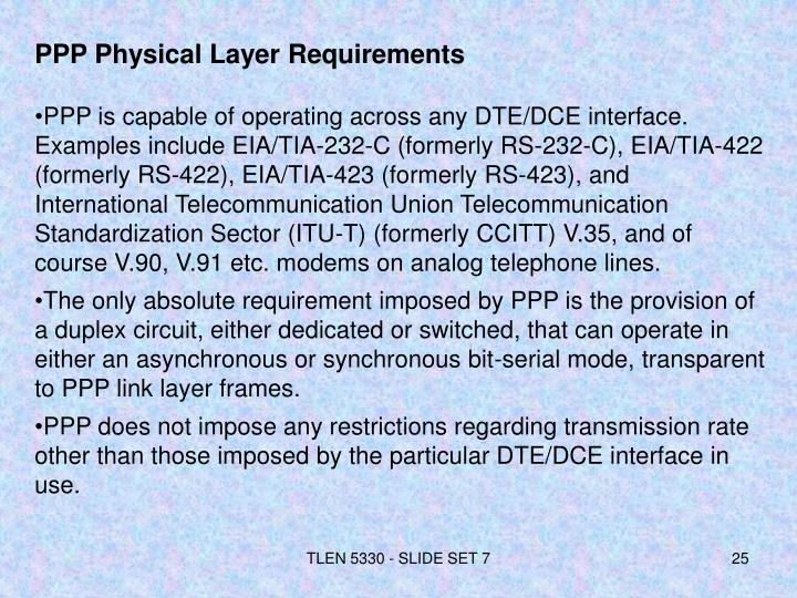 PPP Physical Layer Requirements