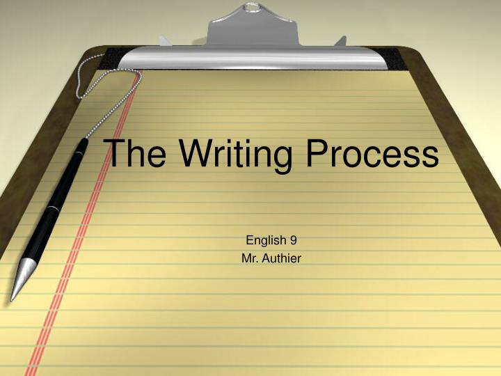 powerpoint on the writing process This powerpoint presentation is a review of the steps in the writing process it talks about prewriting, brainstorming, outlining, drafting, word choices, revising, proofing, and presenting this video itself is quite simple, but the information pr  esented is very thorough.